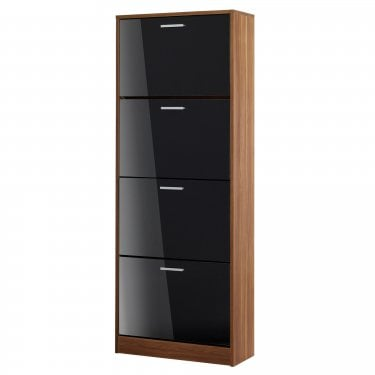LPD Furniture Strand High Gloss Black 4 Drawer Shoe Cabinet (STRA4DRBLA)