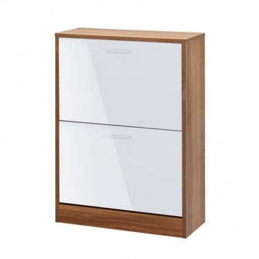 LPD Furniture Strand White High Gloss 2 Door Shoe Cabinet