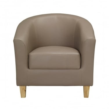 LPD Furniture Taupe Faux Leather Tub Chair