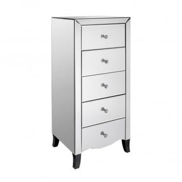 LPD Furniture Valentina Mirrored 5 Drawer Chest (VALEN5DR)