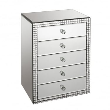 LPD Furniture Valentina Mirrored 5 Drawer Jewellery Chest (VALENJEWEL)