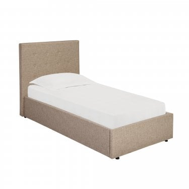 Lucca Single Hydraulic Storage Bed, Beige