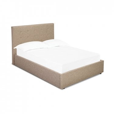 Lucca Small Double Hydraulic Storage Bed, Beige
