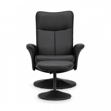 Lugano Black Faux Leather Recliner Chair & Footstool