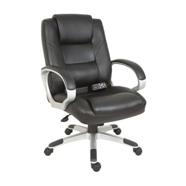 Lumbar Black Massage Executive Chair with Gun Metal Base