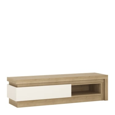 Lyon High Gloss White & Riviera Oak 1 Drawer TV Unit