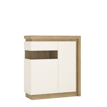 Lyon High Gloss White & Riviera Oak 2 Door Left-Handed Designer Cabinet