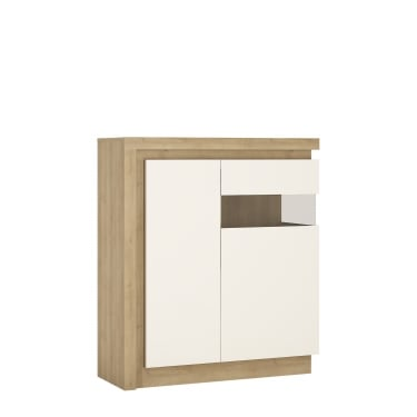 Lyon High Gloss White & Riviera Oak 2 Door Right-Handed Designer Cabinet
