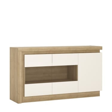 Lyon High Gloss White & Riviera Oak 3 Door Sideboard