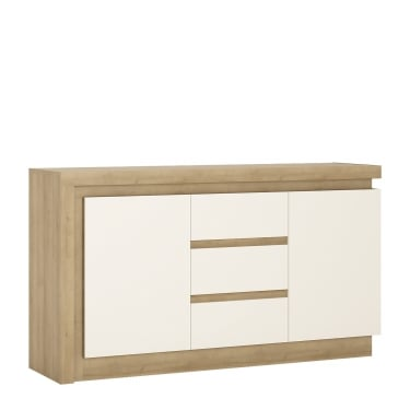 Lyon High Gloss White & Riviera Oak 3 Drawer 2 Door Sideboard