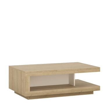 Lyon High Gloss White & Riviera Oak Designer Coffee Table