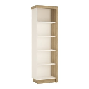 Lyon High Gloss White & Riviera Oak Left-Handed Bookcase