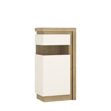 Lyon High Gloss White & Riviera Oak Left-Handed Narrow Display Unit