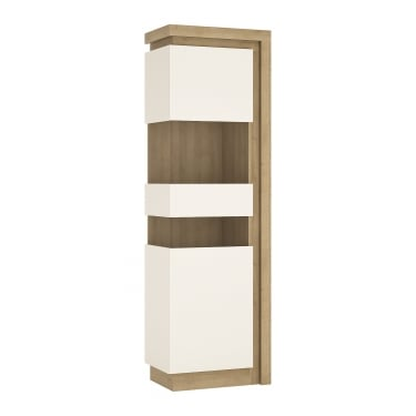Lyon High Gloss White & Riviera Oak Left-Handed Tall Narrow Display Unit