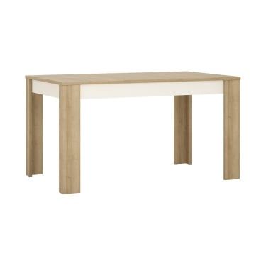 Lyon High Gloss White & Riviera Oak Medium Extending Dining Table