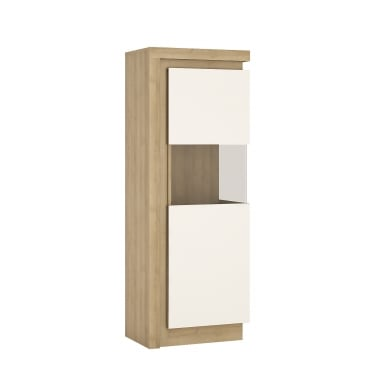Lyon High Gloss White & Riviera Oak Right-Handed Narrow Display Unit
