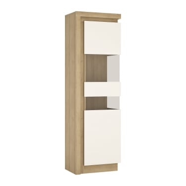 Lyon High Gloss White & Riviera Oak Right-Handed Tall Narrow Display Unit
