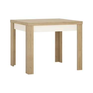 Lyon High Gloss White & Riviera Oak Small Extending Dining Table