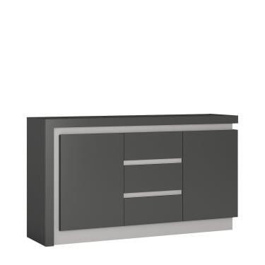 Lyon Platinum High Gloss Light Grey 3 Drawer 2 Door Sideboard