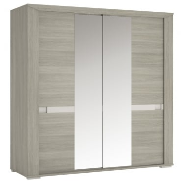 Madras Latte Oak & Champagne 2 Door Mirrored Wardrobe