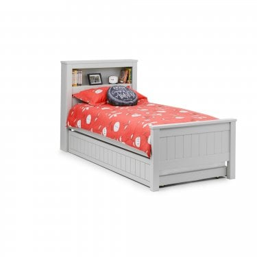 Maine Dove Grey Bookcase Single Bed