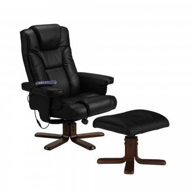 Malmo Black Faux Leather Massage Recliner Chair