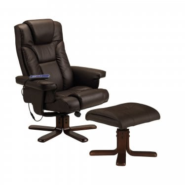 Malmo Brown Faux Leather Massage Recliner Chair