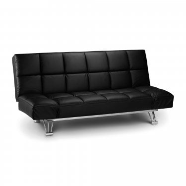 Manhattan Black Faux Leather Small Double Sofa Bed