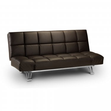Manhattan Brown Faux Leather Small Double Sofa Bed