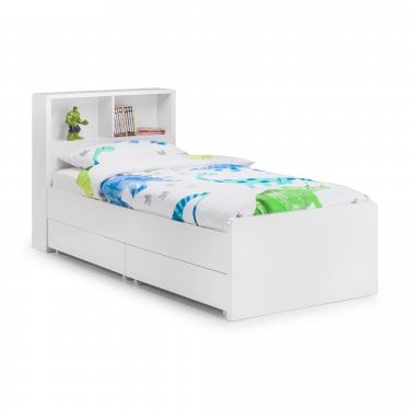 Manhattan Gloss White Single Bookcase Bed