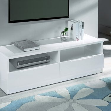 Manhattan White High Gloss 2 Drawer Media Unit