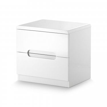 Manhattan White High Gloss Bedside Cabinet