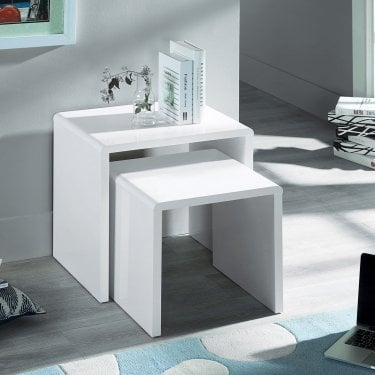 Manhattan White High Gloss Nest of Tables