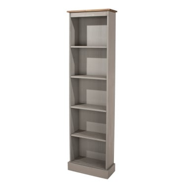 Marwick Tall & Narrow Bookcase, Grey & Antique Pine