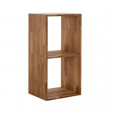 Maximo Cube 2 Tier Shelving Unit, Oak