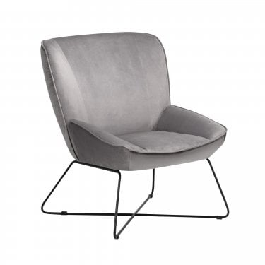 Mila Grey Velvet Accent Chair & Stool