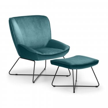 Mila Teal Velvet Accent Chair & Stool