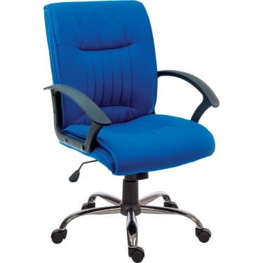 Milan Blue Executive Armchair with Chrome Base