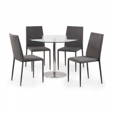 Milan Jazz Dining Set Of 4, Slate Grey Linen