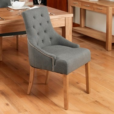 Mobel Accent Slate Grey Linen Dining Chair Pair