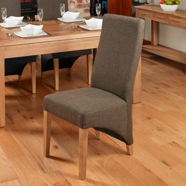 Mobel Hazelnut Linen Dining Chair Pair
