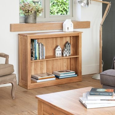 Mobel Low Lacquered Oak Bookcase
