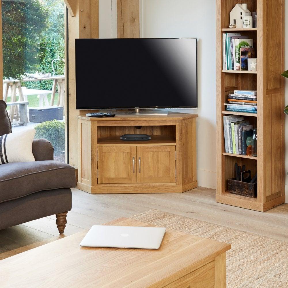 baumhaus mobel natural oak corner tv unit