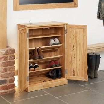 baumhaus mobel natural oak medium shoe cabinet