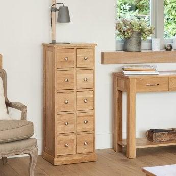 baumhaus mobel oak 10 drawer dvd storage chest