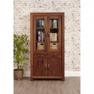 Mokoto Large 2 Door 1 Drawer Bookcase, Walnut