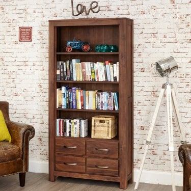 Mokoto Large 4 Drawer Bookcase, Walnut