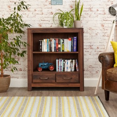 Mokoto Low 2 Drawer Bookcase, Walnut