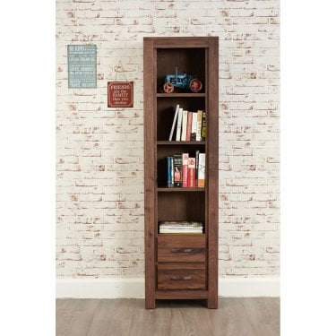 Mokoto Narrow 2 Drawer Bookcase, Walnut