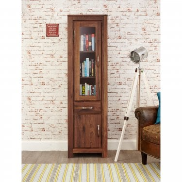 Mokoto Tall 2 Door 1 Drawer Bookcase, Walnut